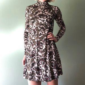 ASOS Paisley Long Sleeve Turtleneck Dress Sz Small